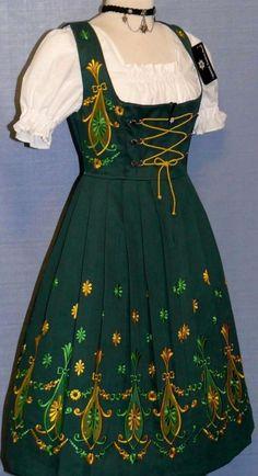 NEW ~ 3pc LONG ~ GREEN German Party Waitress OKTOBERFEST Dirndl Dress / 32 2 XS
