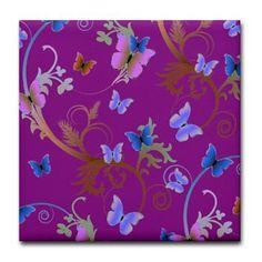 Purple Blue Butterflies Tile Coaster