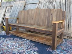Reused picket garden bench and miscellaneous routed wood signage. Reclaimed Wood Projects, Easy Wood Projects, Woodworking Projects That Sell, Diy Woodworking, Craft Projects, Repurposed Wood, Salvaged Wood, Outdoor Projects, Pallet Projects