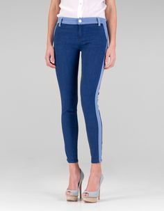 Two-tone jeans with side strip