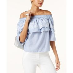 INC Off-The-Shoulder Chambray Top, Created for Macy's ($72) ❤ liked on Polyvore featuring tops, chambray, boho off the shoulder top, off-shoulder tops, flutter-sleeve tops, blue embroidered top and off the shoulder flounce top