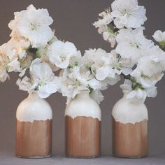 White and Copper Minimalist Bud Vases // Set of Three