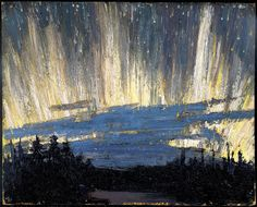 Northern Lights by Tom Thomson of the Group of Seven, circa 1915 Group Of Seven Artists, Group Of Seven Paintings, Paintings I Love, Oil Paintings, Emily Carr, Canadian Painters, Canadian Artists, Nocturne, Landscape Art