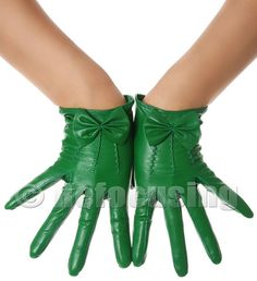 Irish Green Bow Leather Gloves
