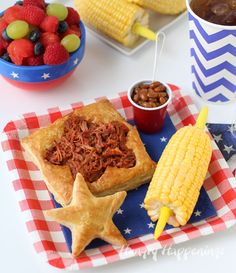 Tired of messy BBQ sandwiches? Serve your BBQ Beef or Pork in Patriotic Puff Pastry instead. This is perfect for the of July or any day. 4th Of July Desserts, Fourth Of July Food, July 4th, Memorial Day Foods, Good Food, Yummy Food, Chicken And Shrimp Recipes, Food Themes, Food Ideas