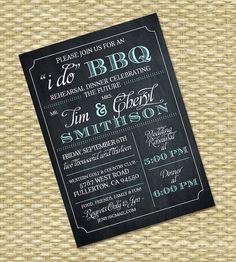 I Do BBQ Invitation - Rehearsal Dinner, Wedding, Bridal Shower Birthday Invitation - Chalkboard Typography - Any Color Scheme