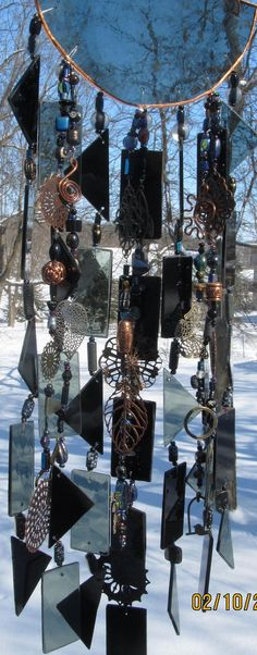Stained Glass Art Wind Chime Black Smoke