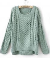 Comfy. Green Round Neck Long Sleeve Hollow Sweater