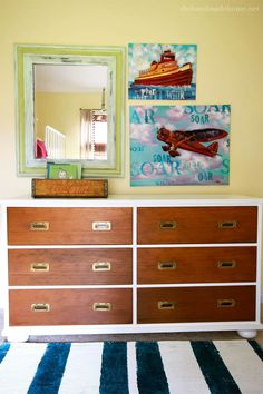 Classic campaign dresser updated with white, but drawers left wood tone