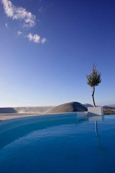 Pool in Pyrgos, Santorini island, Greece