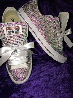 Custom Swarovski crystal Converse For weddings, bridal showers,baby showers, Birthdays or just any special occasion !!! Upon ordering you cand me a message if you have any questions!!! Please order in advance if you need by a certain date......Thank You!!! Fast shipping!!! No
