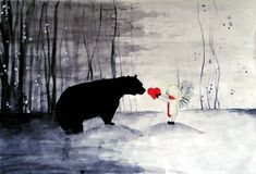 Little girl with big bear by zaba332