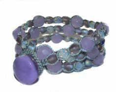Glass Bead and Swarovski Crystal Purple Lampwork by GemsdeVine, $28.99