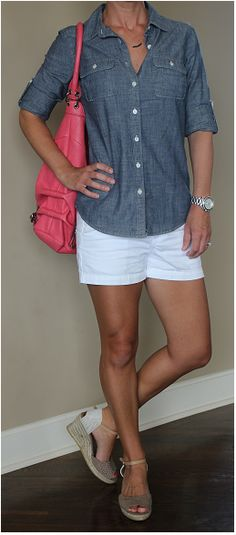 Casual summer outfit - chambray top, white shorts, tan wedges and a pop color bag! See the details at www.wearitforless.comww.weartiforless.com