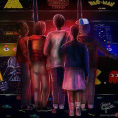 STRANGER THINGS FAN ART(digital painting) BY JESSICA GUETTA. Jessicaguetta.tumblr.com . Instagram : @JessicaGuetta.  #stranger #things #fan #art #netflix #tv #show #80s #digital #painting #neon #arcade