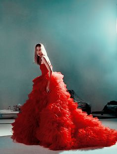 The beautiful red gown