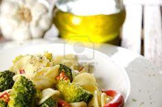 Orecchiette with broccoli with ingredients, italian pasta Stock Photo - 16403842