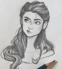 Pencil drawing of cartoon / semi realistic girl