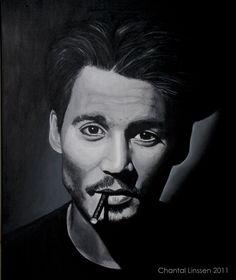 Portrait of Johnny Depp    Acrylics on cotton canvas  50x60 cm