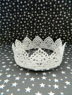 White Venice lace Crown (1 Crown) Mini crown base for flower girls, first communion, or brides. $6.00, via Etsy.