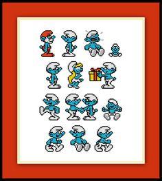 Set of 14 Smurfs - Pattern Cartoon by SpriteStitches