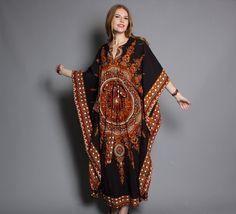 vintage 70s Ethnic Dashiki Print Boho CAFTAN DRESS