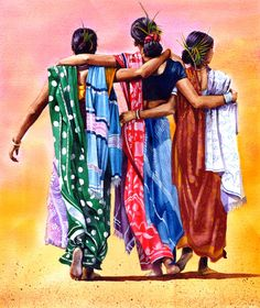 Friendship.  Peter Williams.  Watercolor......http://www.pinterest.com/debashish1708/awesome-art-~-indian-art/.