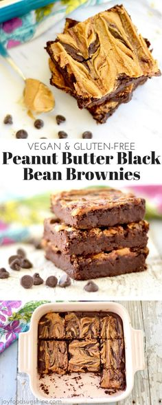 Vegan Peanut Butter Black Bean Brownies Recipe! A fudgy, chocolatey, peanut buttery dessert that is healthy and delicious! Vegan, gluten-free, dairy-free, & refined sugar free!