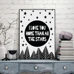"""I Love You More Than All The Stars"" Canvas Print www.topshelfdecor.com"