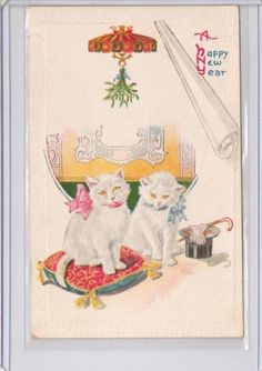 Vintage Cats Kittens Happy New Year Postcard | eBay