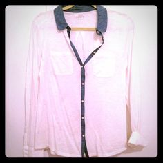 LOFT button up shirt with denim collar and accent Size small. Super soft. Super cool accent. LOFT Tops Button Down Shirts