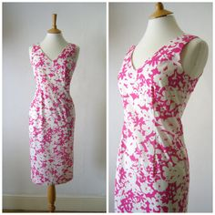 Vintage 90s Pink and White Graphic Floral Print by Cabinet49, $30.00