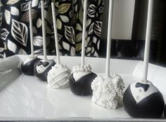 Black Tie Dinner Party Cake Pops, Wedding, Bride and Groom, Elegant, Fancy - By Sugar Puddin Cafe The Chew, Party Cakes, Black Tie, Cake Pops, Wedding Bride, Groom, Sugar, Fancy, Dinner