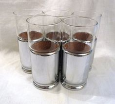 Mid Century Modern Set of Hellerware Highball Tumblers with Removable Chromium-Plated, Cork-Lined Sleeves. MCM 1950s Barware at AngelGrace on Etsy.