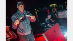KVD shows off 2 of the Strike King lures that he used to win the 2016 B.A.S.S. Elite Series tournament on Toledo Bend- May 2016.