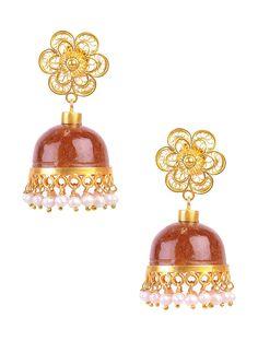 Buy Red Ivory Golden Aventurine Silver Earrings 92.5 Pearls Jewelry Color Splurge Gemstone Encrusted Online at Jaypore.com