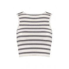 sleeveless white and navy stripped crop top found on Polyvore