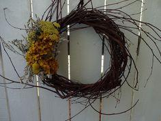 Hydrangea Wreath, Sunflower Wreaths, Grapevine Wreath, Indoor Wreath, Sea Holly, Autumn Wreaths, Wreaths For Front Door, Grape Vines