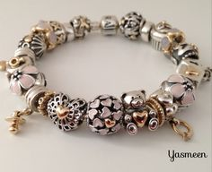 PANDORA Bracelet with Pretty Pink and Gold Heart Theme ♡ ♥ ♡