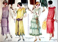 Evening dresses for misses and small ladies, January 1924, Delineator. love the lavender one!
