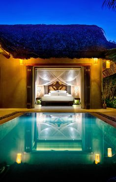 pool just outside of a master bedroom, or guest house… resort inspired.