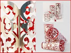 'CHATEAU SEVIGNE' GLASSWARE Another exquisite collection designed by Paola Navone, available in our store. Hand-blown glass glazed with red enamel, covered by silk-screened silver leaf.