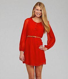 Sequin Hearts Belted Chiffon Dress #Dillards