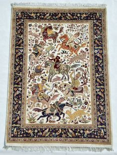 4 X 6 Pakistani hand-knotted area rug in Hunting Design with Silk & Wool Oriental Wool Rugs, Imported Rugs, Wool Area Rugs, Rugs, White Marble Design, Long Rug, Area Carpet, Hunting Design, Hand Knotted Rugs