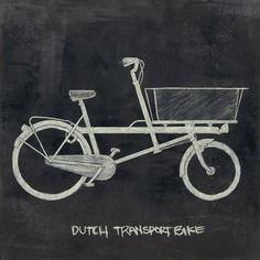 Chalkboard Drawing - Dutch Transport Bike: http://www.etsy.com/listing/44778671/penny-farthing-print?ref=v1_other_2#