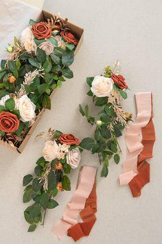 Wedding Aisle Decoration Pew Flowers (Set of 8) - Burnt Orange Wedding Pews, Sage Wedding, Wedding Aisle Decorations, Floral Wedding, Wedding Colors, Wedding Bouquets, Rustic Wedding, Church Pew Decorations, Western Wedding Centerpieces