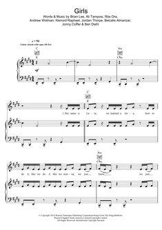 Girls Piano Chords by Rita Ora, Cardi B Bebe Rexha, Charli Xcx, Sheet Music Notes, Piano Sheet Music, Music For You, Guitar Tabs, Music Store, Rita Ora, Cardi B