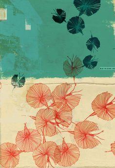 dancing by Nayoun Kim (김나연) Art And Illustration, Japanese Illustration, Doodle Drawing, Painting & Drawing, Japanese Patterns, Japanese Prints, Inspiration Art, Art Inspo, Posca Art
