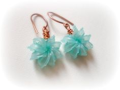 turquoise upcycled earrings  recycled jewelry by colortreasures, $14.50