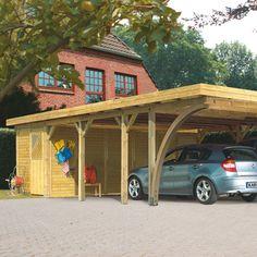 Karibu Fux Gartenhäuser - Doppelcarport Classic 3 Variante C inkl. zwei Einfahrtsbögen
